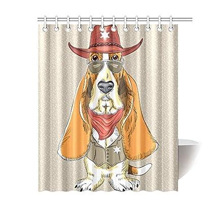 Shower Curtain Cute Dog Basset Hound Polyester Fabric Print Bathroom Bath 60 X72 Inch