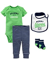 Simple Joys by Carter's Boys' 4-Piece Bodysuit, Pant, Bib and Sock Set