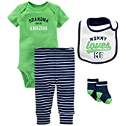 Simple Joys by Carter's Baby Boys' 4-Piece Bodysuit, Pant, Bib and Sock Set, Green Grandma, 6-9 Months