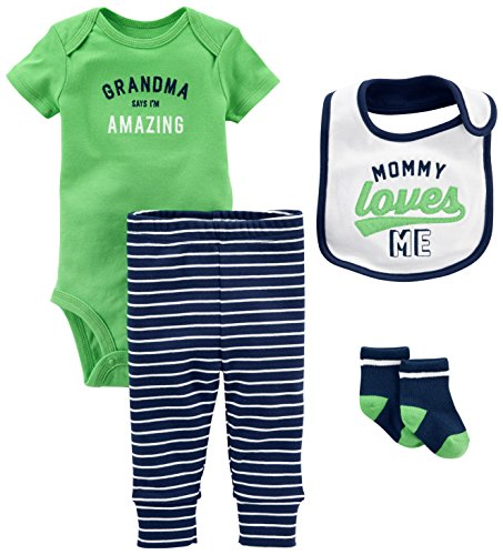 Simple Joys by Carter's Baby Boys' 4-Piece Bodysuit, Pant, Bib and Sock Set, Green Grandma, 3-6 Months