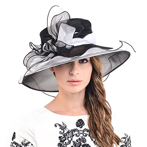 F&N STORY Kentucky Derby Church Wedding Hat Ascot Satin Organza Bowknot Dress Wedding Hat S039