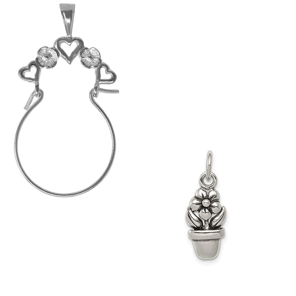 Mireval Sterling Silver Antique Flower in a Pot Charm on an Optional Charm Holder