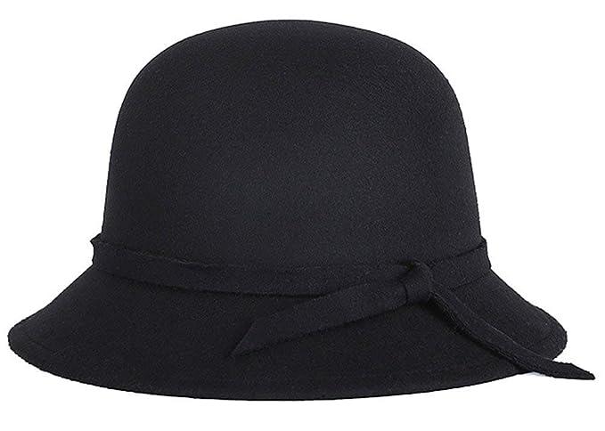 38c3c5a8fb7e0 Saoye Fashion Sombreros Sombrero De Campana para Mujer Elegante Melón  Sombrero Redondo Fácil De Igualar con