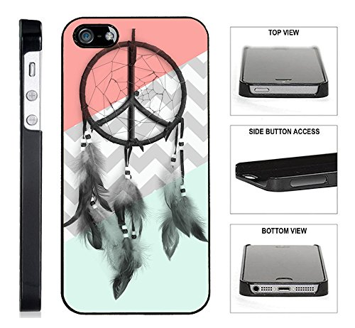 [TeleSkins] - Dreamcatcher Mint Coral Grey Chevron - iPhone 4 / 4S Black Plastic Case - Ultra Durable Slim & HARD PLASTIC Highly Protective Vibrant Snap On Designer Back Case / Cover for Girls. (Coral Iphone 4 Case)