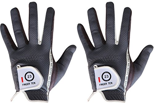 Men Golf Glove Left Hand Right 2 Pack, Hot Wet Rain Grip, Black Gray, Fit Small Medium Large XL, By Finger Ten (Large Grey, left)