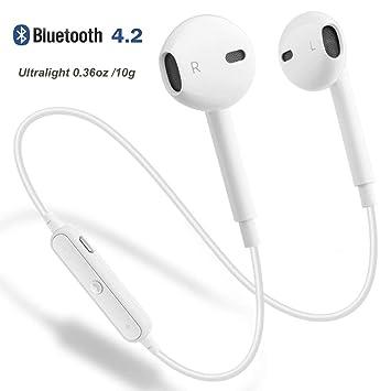 PETHREE Auriculares inalámbricos, Bluetooth 4.2 Auriculares Deportivos Auriculares In-Ear Sin Cable Ultraligero 10g con micrófono Cancelación de Ruido y ...