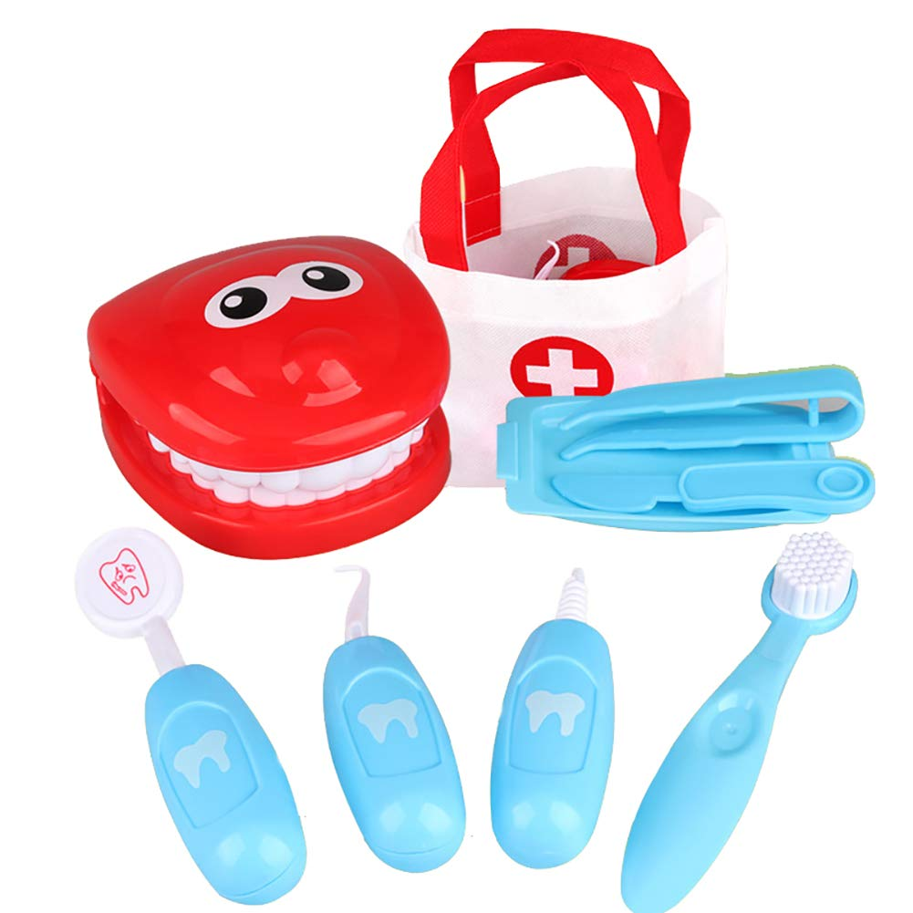Funny Dentist Toy Doctor Toy Playset Role Play Set Educational Toy for Children Gift (Blue) 1 Set Isuper