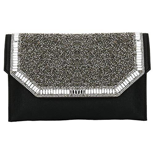 Alligator Clutch Flap Accent Womens Metal Black Skin Leather Pattern Glitter PU Zq4OxqF