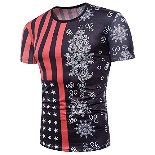Independence Day Men's Tops Mens Flag 3D Printing Tees Shirt Short Sleeve T-Shirt Bloe Tops Black