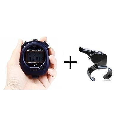 Cuzit Pc28102rangées 10souvenirs Sports Chronomètre Minuteur Group Ensemble de compteur électronique chronographe arbitre et sports officielle Finger Grip Sifflet