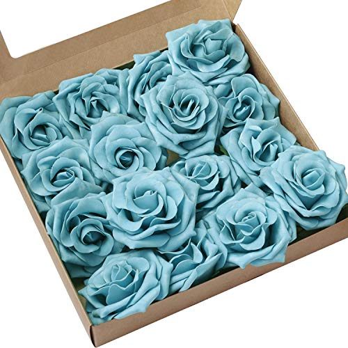 Ling's moment Rose Artificial Flowers 16pcs Realistic Turquoise Avalanche Roses with Stem for DIY Wedding Bouquets Centerpieces Floral Arrangements Decorations (Arrangements Turquoise Flower)