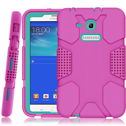 Samsung Galaxy Tab E Lite 7.0 Case, Galaxy Tab 3 Lite 7.0 Case, Hocase Rugged Heavy Duty Kids Proof Protective Case for SM-T110 / SM-T111 / SM-T113 / SM-T116 - Deep Pink/Teal Blue