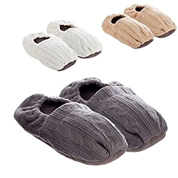 DCASA dcasa - Zapatillas térmicas de semillas para microondas - Blanco