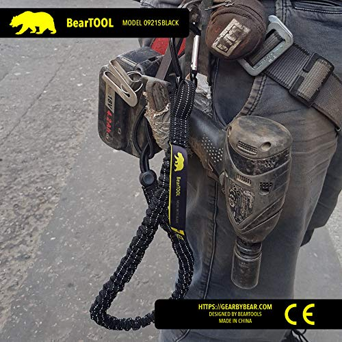 BearTOOL Tool Lanyard with Single Carabiner and Adjustable Loop End, Standard Length, Maximum Weight Limit 8KG / 17.6lb, Aluminum Screw Lock Carabiner with Shock Cord Stopper, 3 Pack (Black 0923S) by BearTOOL (Image #5)