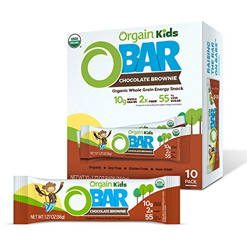 Orgain Organic Kids Energy Bar, Chocolate Brownie, Vegan, Gluten Free, Soy Free, 6g Fiber, Non-GMO, 1.27 Ounce, 10 Count