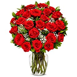 From You Flowers - Two Dozen Premium Long Stem Red Roses for Valentine's Day (Free Vase Included)