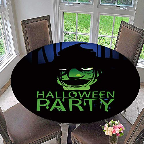 Mikihome Chateau Easy-Care Cloth Tablecloth Halloween Party Design Template with Witch and Place for Text. for Home, Party, Wedding 67