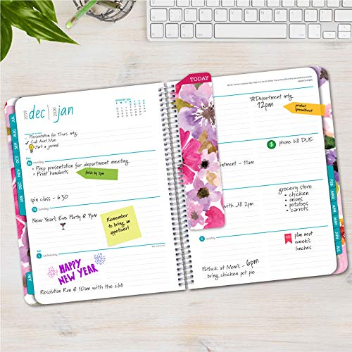 HARDCOVER Academic Planner 2019-2020: (July 2019 Through July 2020) 8.5x11 Daily Weekly Monthly Planner Yearly Agenda. Bonus Bookmark, Pocket Folder and Sticky Note Set (Spring Floral)