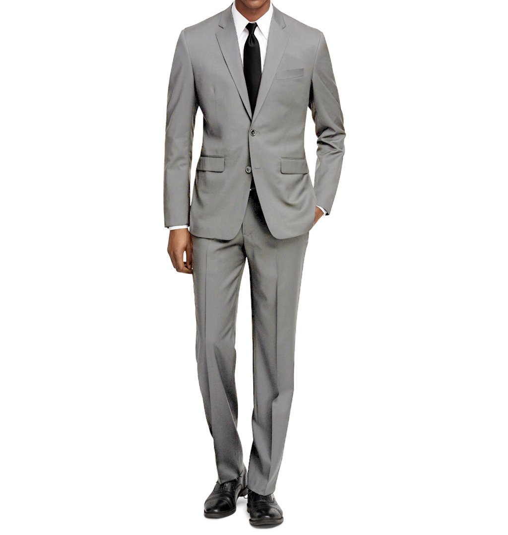 MDRN Uomo Men's Slim Fit 2 Piece Suit, Light Grey, Size 38R/32W