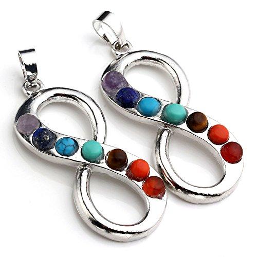 JOVIVI 7 Chakras Gemstone Pendant Infinity Charm Beads Necklace Gift
