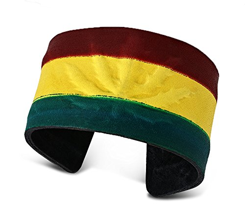 - Best Wing Jewelry Genuine-Leather Black Red Green Yellow Rasta/w Maple Marijuana Ganja Leaf Cuff Bangle