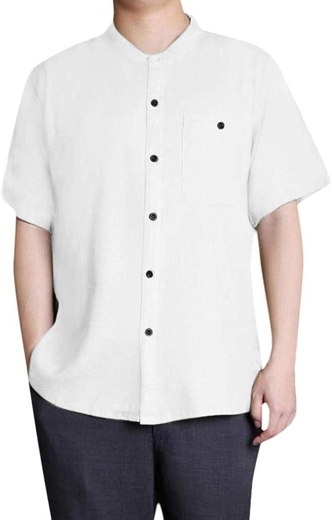 beautyjourney Camisa Holgada de Hombre de algodón y Lino Camisa Retro de Manga Corta con Cuello Alto Camisetas de Color sólido de Verano Tops: Amazon.es: Ropa y accesorios
