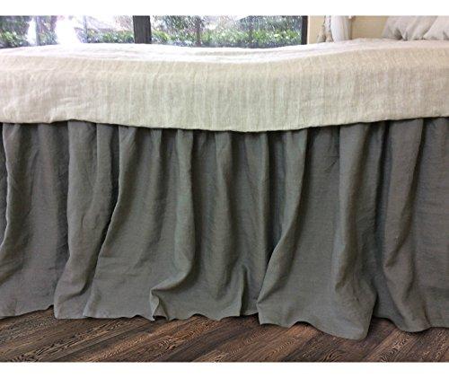 Medium Grey Bedskirt, Medium Grey Linen Bed Skirt, Natural Linen Bed Ruffles, Linen Dust Ruffle, Shabby Chic Bedding, Twin Bed Skirt, Queen Bed Skirt, King Bed Skirt, HANDMADE, FREE SHIPPING by SuperiorCustomLinens