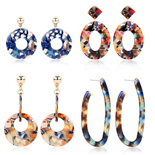 SEVENSTONE 4 Pcs Acrylic Dangle Drop Earrings Statement Mottled Boho for Women Resin Tortoise Fashion Jewelry Set from SEVENSTONE