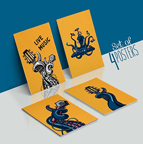 Made With Tone, Limited Edition: Octopus Decor, The Best Teen Room Decor, Set of Four 11X17 Octopus Art Posters, 1MM Thick!