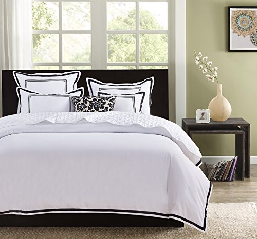 Hotel Luxury 3pc Duvet Cover Set Elegant White Black Trim