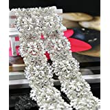 Queendream 1 Yard Rhinestone Appliques Iron On- Silver Width: 2 Inches