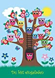 """Edition Colibri """"EULEN IM BAUM"""" - Tarjetas de invitación con diseño de lechuzas en un árbol, para cumpleaños y otras fiestas infantiles y de jóvenes (10 unidades)"""
