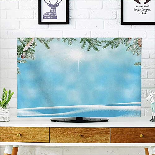 (Leighhome tv Protective Cover Hallucinatory Horizon from Distance with Morning Rays and Pine Blue Green tv Protective Cover W20 x H40 INCH/TV 40