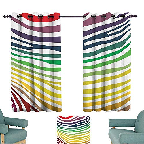 - DILITECK Room Darkening Wide Curtains Zebra Print Decor Collection Colorful Zebra Stripes Pattern in Cheering Rainbow Color Modern Style Art Thermal Insulated Tie Up Curtain W63 xL72 Red Yellow Green