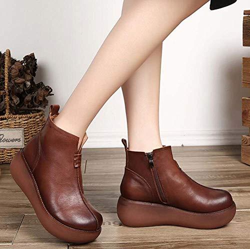 Brown Del Vestir 40 Botines Pie Zapatos La Plataforma De Cuña Tamaño Fondo Grueso Estilo Corte 34 Chino Ue Tacón Dedo Redondo Mujeres Ol wqSB81