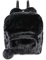 Adorable Rabbit Ears Fur Backpack Fluffy Daypack School Bag with Ball Pendant