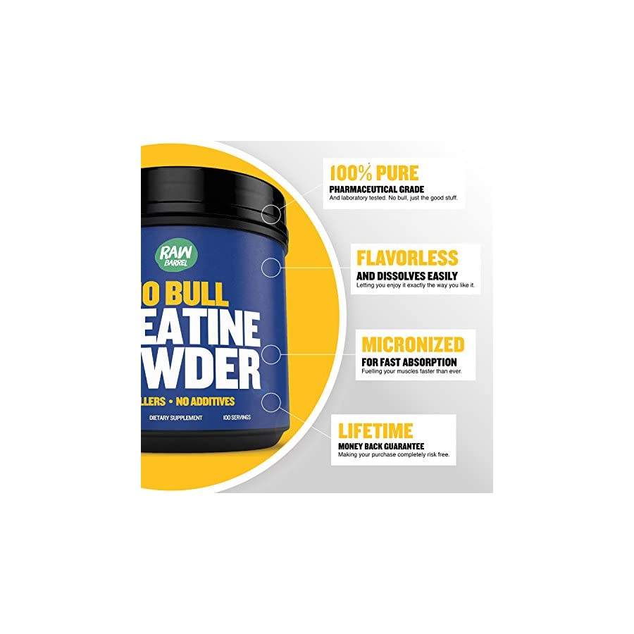 Raw Barrel's Pure Creatine Monohydrate Powder RESULTS OR YOUR MONEY BACK 500g Unflavored and Micronized with *FREE* digital guide