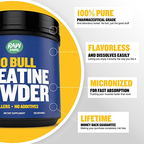 Raw Barrel's Pure Creatine Monohydrate Powder Unflavored and Micronized SEE RESULTS OR YOUR MONEY BACK 500g with *FREE* digital guide