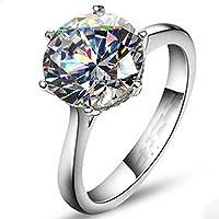 A.Minnymin Classic Women Solitaire Round cut 4Ct Diamonique Cz 925 Silver Wedding Band Ring (7)