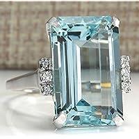 Large Women Jewelry 925 Silver Aquamarine Gemstone Wedding Bridal Ring Size 6-10 (8)