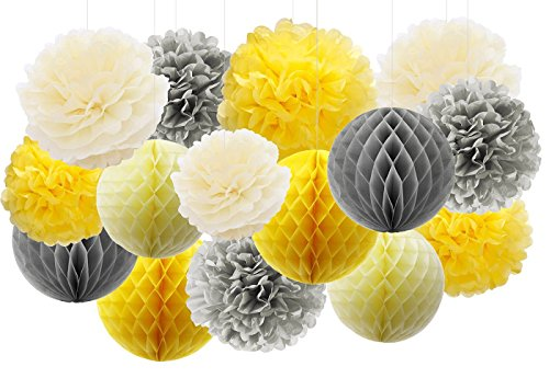 Furuix 15pcs Yellow Grey Elephant Baby Shower Decorations Tissue Paper Pom Pom Tissue Paper Gray and Yellow Nursery Decor/Bridal Shower Birthday Decorations/You are My Sunshine Party -
