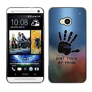 TopCaseStore / la caja del caucho duro de la cubierta de protección de la piel - Dont Touch Phone Hand Painting Stamp - HTC One M7