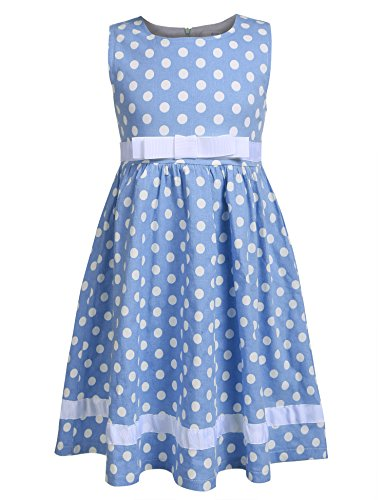 Dot Spring Dress (Arshiner Toddlers Little Girls Sleeveless Cute Dots Floral Print Tea Length A-Line Dress with Belt,Blue,110(Age for 4-5Years))