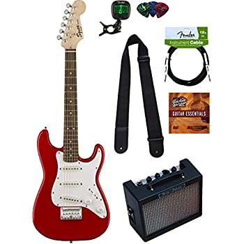 Squier by Fender Mini Strat Electric Guitar - Red Bundle with Amplifier, Instrument Cable, Tuner, Strap, Picks, Austin Bazaar Instructional DVD, and Polishing Cloth