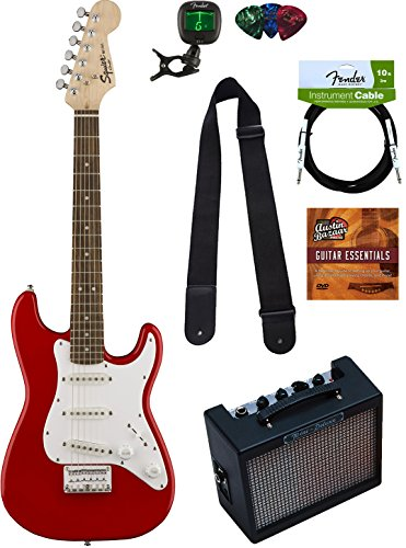 Squier Mini Player (Squier by Fender Mini Strat Electric Guitar - Red Bundle with Amplifier, Instrument Cable, Tuner, Strap, Picks, Austin Bazaar Instructional DVD, and Polishing Cloth)