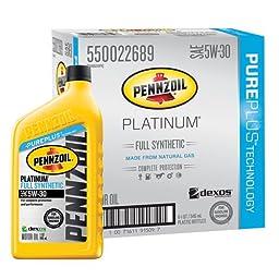 Pennzoil 550022689-6PK Platinum 5W-30 Full Synthetic Motor Oil - 1 Quart (Pack of 6)