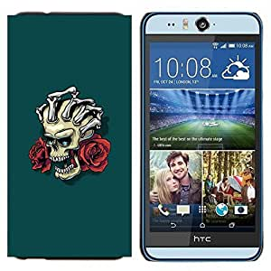 TECHCASE---Cubierta de la caja de protección para la piel dura ** HTC Desire Eye ( M910x ) ** --Cráneo floral y Manos