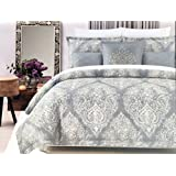 Cynthia Rowley Bedding 3 Piece Cotton Full/Queen Size Duvet Cover Set Off-White Damask Floral Scroll Medallion Pattern on Gray - Annika