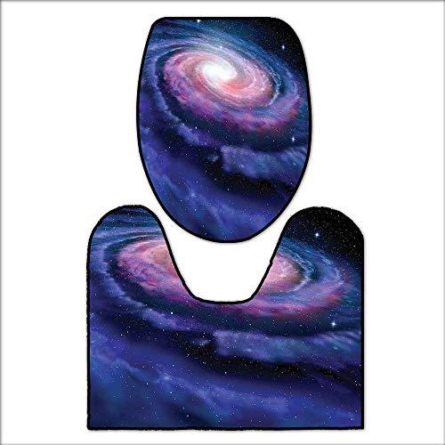 2 Piece Toilet mat Set Spiral Cosmic Energy with Dark Nebula Cloud Burst Solar Universe Image for Blue Purple. 2 Piece Shower Mat Set L23.5 x W22.5-W15 x H18 by qianhehome