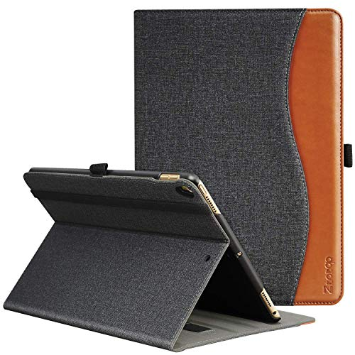 Ztotop Case for iPad Pro 10.5 Inch 2017, Premium Leather Business Slim Folding Stand Folio Cover for New iPad Tablet with Auto Wake/Sleep and Document Card Slots, Multiple Viewing Angles,Denim Black